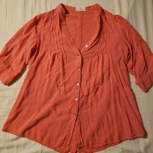 Love Tree Medium Button Down Coral Shirt